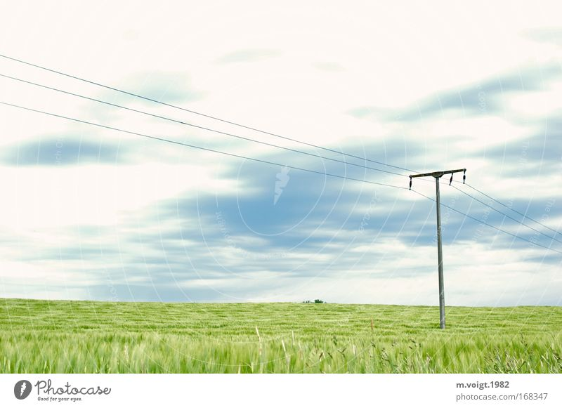 Nature Sky Green Blue Clouds Far-off places Cold Spring Field Environment Horizon Energy industry Esthetic Grain Idyll Electricity