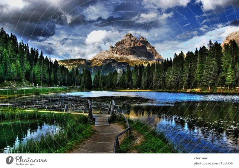The footbridge Colour photo Exterior shot Panorama (View) Forward Environment Nature Landscape Water Sky Clouds Summer Forest Rock Alps Mountain Peak Idyll