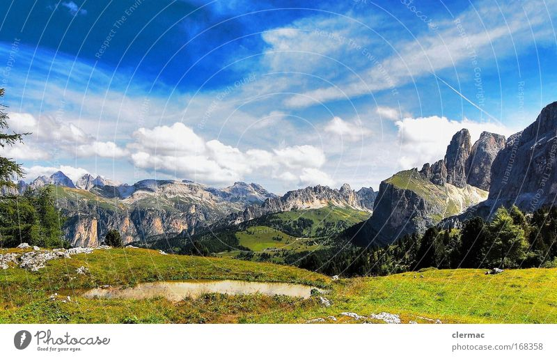 Nature Summer Joy Vacation & Travel Mountain Landscape Environment Italy Leisure and hobbies Rock Alps Peak Beautiful weather Dolomites South Tyrol Sella