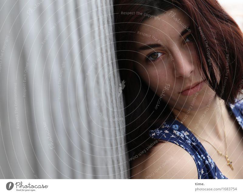 Human being Beautiful Calm Sadness Feminine Think Wait Observe Bridge Protection Dress Serene Watchfulness Long-haired Jewellery Brunette