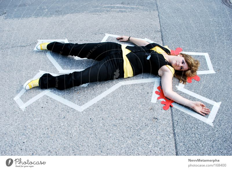 Black Yellow Street Death Signs and labeling Blood Corpse Human being