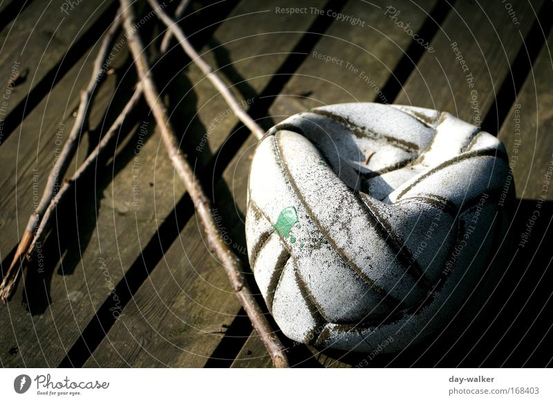 Rejected Subdued colour Exterior shot Day Shadow Contrast Sunlight Shallow depth of field Leisure and hobbies Playing Ball sports Wood Leather Brown Green White