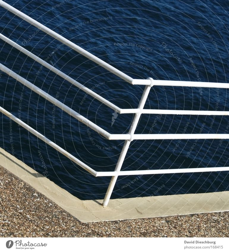 Around the corner Colour photo Exterior shot Day Contrast Nature Water Summer Coast Ocean Blue White Handrail Line Structures and shapes Metal Corner Pole