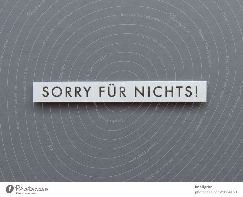 SORRY FOR NOTHING! Characters Signs and labeling Communicate Sharp-edged Emotions Moody Honest Disappointment Apology Irony Sarcasm Colour photo Subdued colour