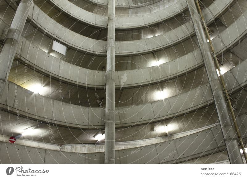 round and round Parking garage Street Architecture Building Modern Concrete Light Round Parking lot Worm's-eye view Tall Story