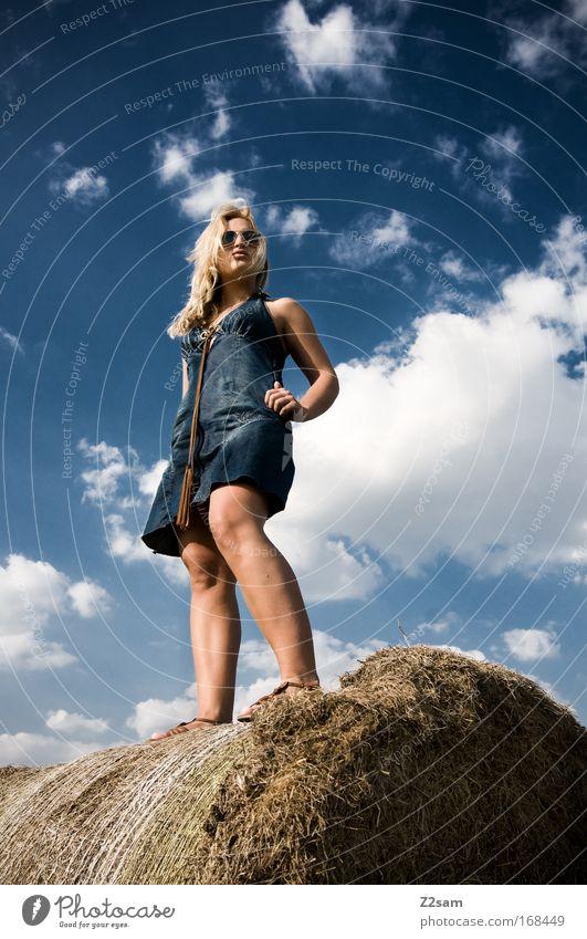 Sky Blue Beautiful Summer Clouds Feminine Landscape Style Fashion Field Blonde Elegant Fresh Esthetic Stand Cool (slang)