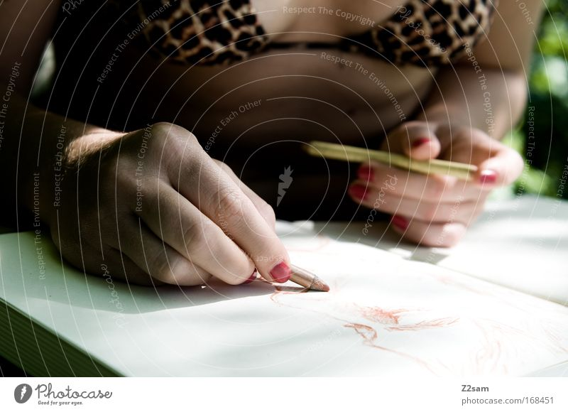 Woman Human being Nature Youth (Young adults) Hand Calm Adults Relaxation Feminine Eroticism Emotions Art Fingers Planning Paper