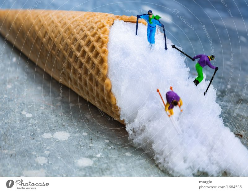Miniwelten - Downhill - Ski Food Dessert Ice cream Candy Nutrition Leisure and hobbies Vacation & Travel Winter Snow Winter vacation Sports Skis Human being