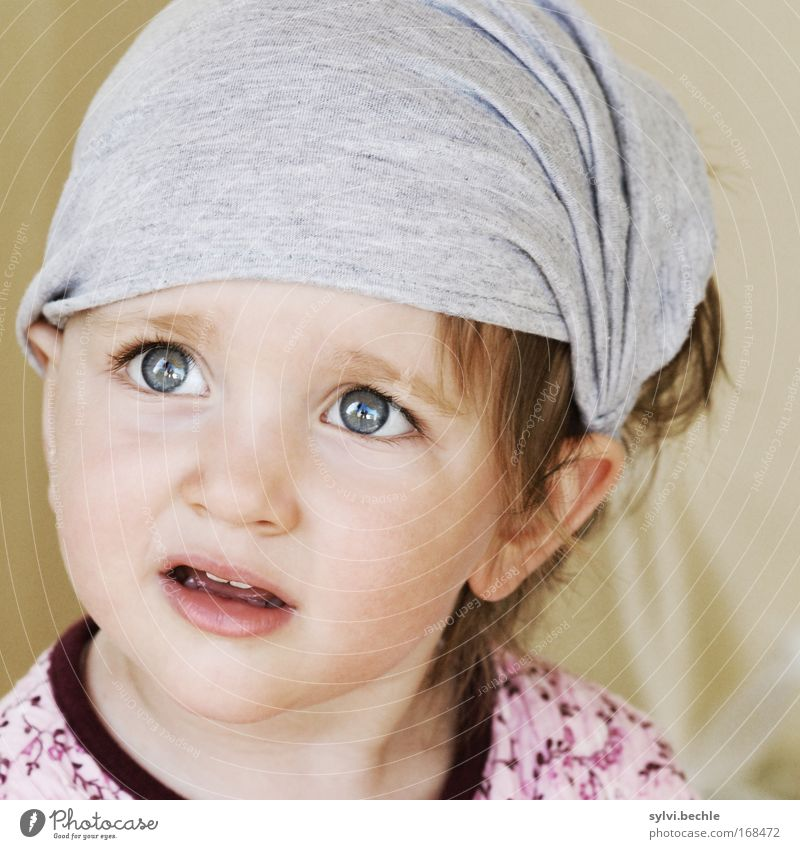 If your kid asks you tomorrow. Child Girl Head Face Eyes Observe Beautiful Curiosity Watchfulness Authentic Interest Surprise Concentrate Ask Headscarf