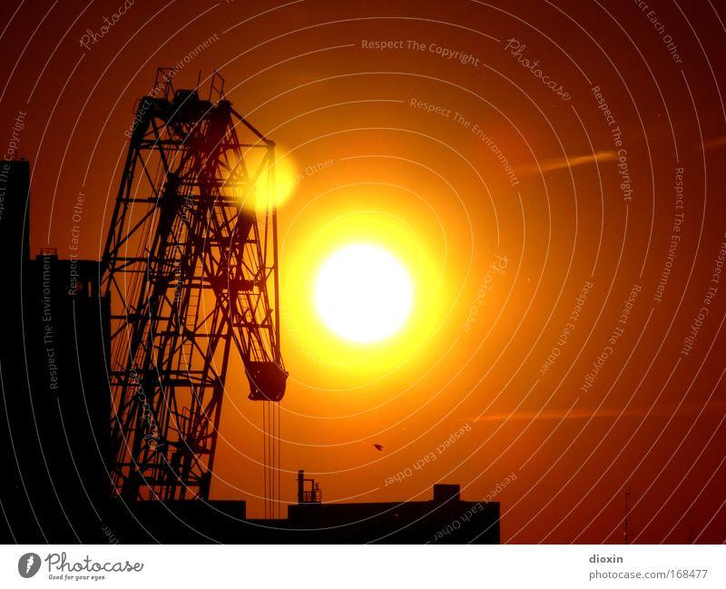 White Sun Red Black Yellow Logistics Harbour Sunset Ladder Stagnating Crane Port City Lifting crane Inland navigation