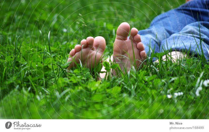 bläck fööss Exterior shot Pedicure Well-being Relaxation Calm Infancy Skin Legs Feet Nature Spring Summer Grass Moss Garden Meadow Jeans Spring fever