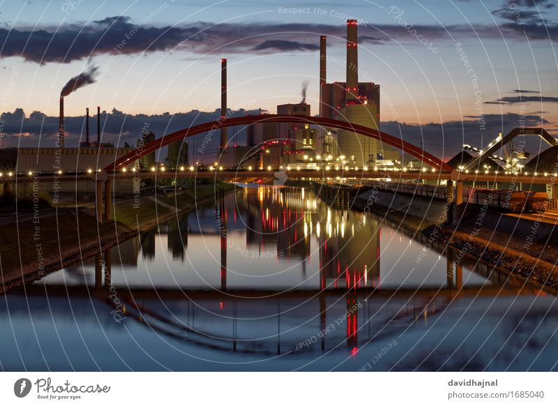 Blue Water Landscape Red Architecture Building Germany Energy industry Esthetic Technology Europe Industry Bridge River Manmade structures Tourist Attraction