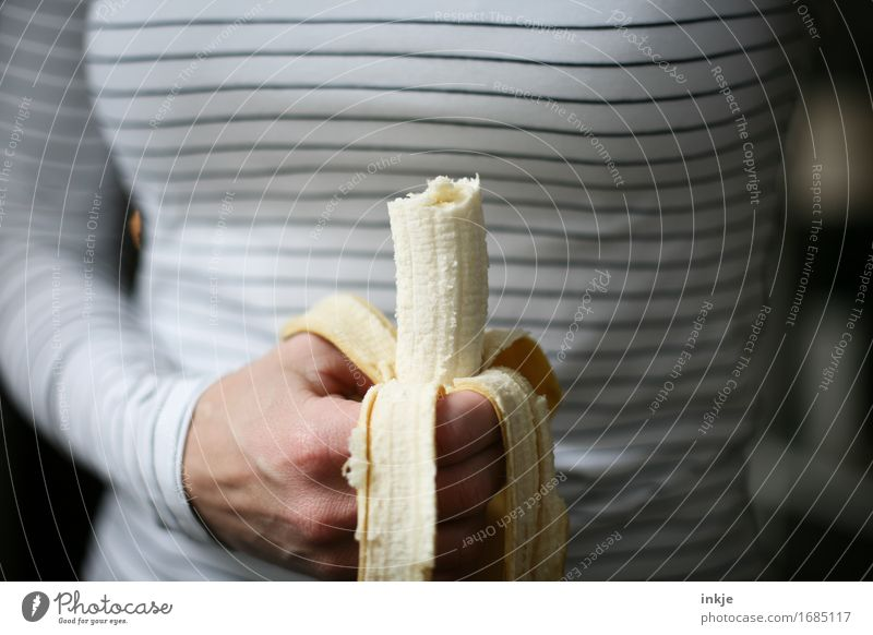 banana Fruit Banana Nutrition Eating Vegetarian diet Woman Adults Life Hand 1 Human being To hold on Simple Healthy Thin Energy Molt Striped Snack Colour photo