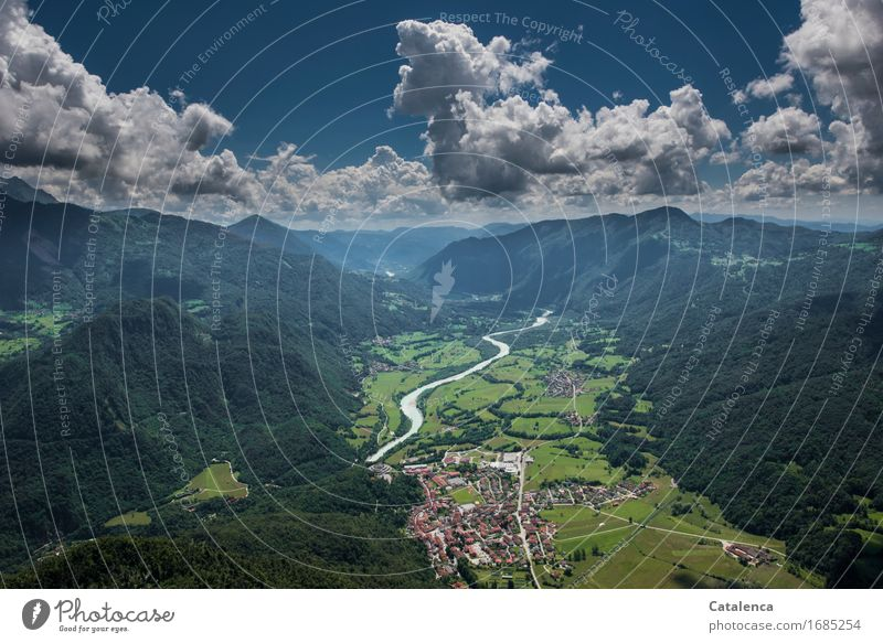 From the air Leisure and hobbies paraglide Summer Mountain Landscape Sky Clouds Beautiful weather Field River soca cobarid Slovenia Flying Blue Green Turquoise