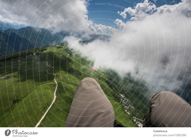 airy Leisure and hobbies Vacation & Travel Freedom Summer Mountain paraglide Thigh Landscape Air Sky Clouds Beautiful weather Meadow proud Slovenia