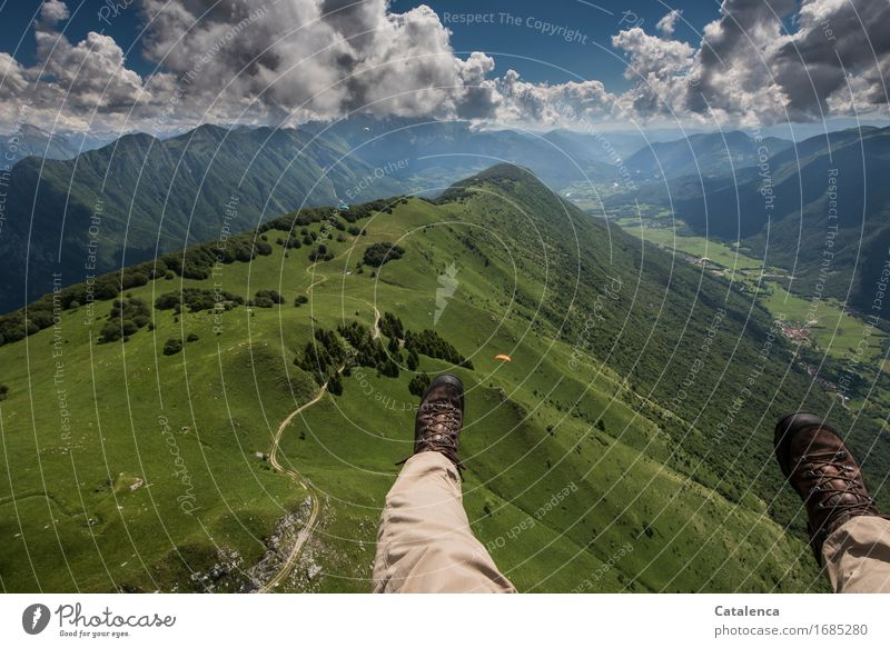 to the horizon Leisure and hobbies Vacation & Travel Summer Mountain Legs Landscape Air Sky Clouds Beautiful weather Meadow Forest Hiking boots Flying To enjoy