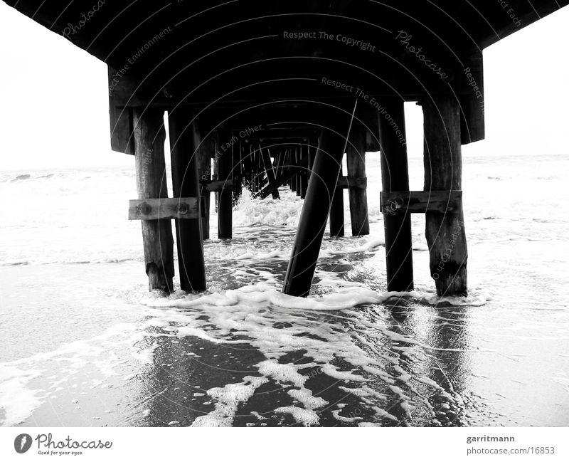 ocean Beach Wood Ocean Black & white photo