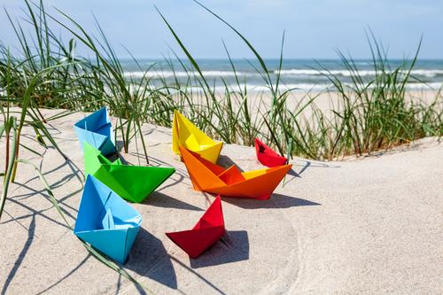 summertime Playing Handicraft Vacation & Travel Summer vacation Beach Waves Sand Water Cloudless sky Beautiful weather Grass North Sea Baltic Sea Ocean