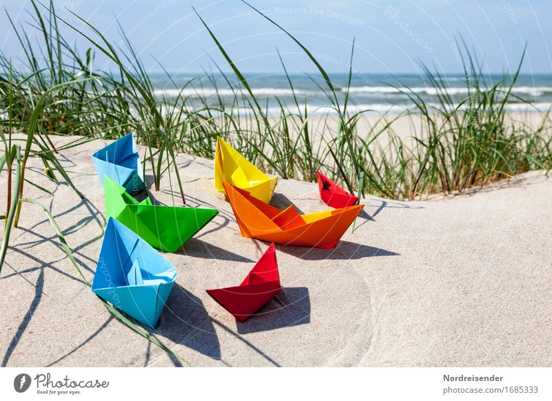 Vacation & Travel Summer Water Ocean Beach Grass Playing Sand Waves Joie de vivre (Vitality) Beautiful weather Paper Baltic Sea Symbols and metaphors Wanderlust