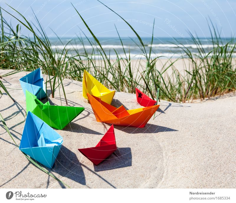 Vacation & Travel Summer Water Sun Ocean Beach Playing Sand Waves Joie de vivre (Vitality) Beautiful weather Paper Baltic Sea Wanderlust Toys Cloudless sky