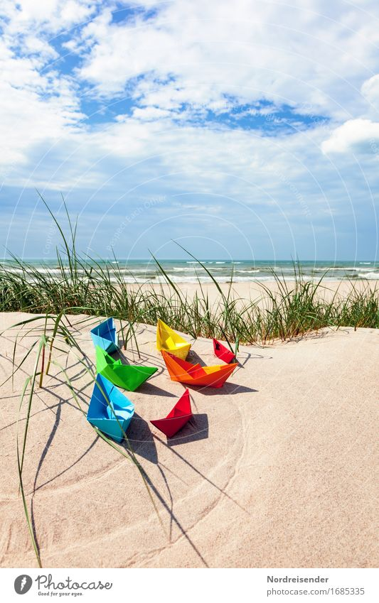 Sky Vacation & Travel Summer Water Sun Ocean Beach Grass Playing Sand Joie de vivre (Vitality) Beautiful weather Paper Baltic Sea Wanderlust Toys