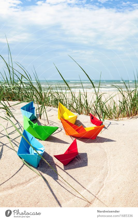 Vacation & Travel Summer Water Sun Ocean Clouds Beach Grass Playing Sand Joie de vivre (Vitality) Beautiful weather Break Baltic Sea Symbols and metaphors Wanderlust