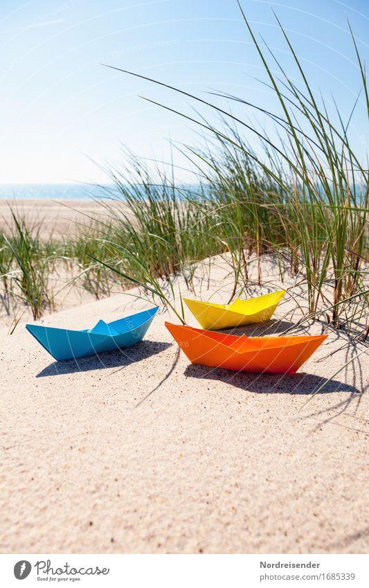 Vacation & Travel Summer Sun Ocean Beach Grass Tourism Leisure and hobbies Beautiful weather Paper Baltic Sea Wanderlust Toys Cloudless sky Dune Summer vacation