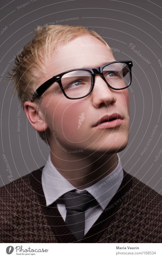 Human being Youth (Young adults) Portrait photograph Adults Think Dream Man Blonde Fashion Arrangement Study Success Masculine Academic studies Eyeglasses Retro