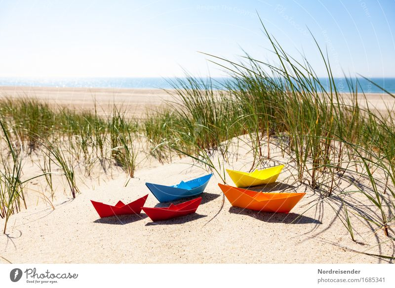 summertime Playing Handicraft Vacation & Travel Summer vacation Beach Ocean Sand Water Cloudless sky Beautiful weather Grass North Sea Baltic Sea Navigation