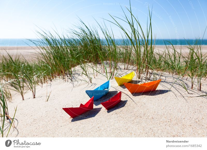 summertime Playing Handicraft Vacation & Travel Summer vacation Beach Ocean Sand Water Cloudless sky Sun Beautiful weather North Sea Baltic Sea Navigation Paper