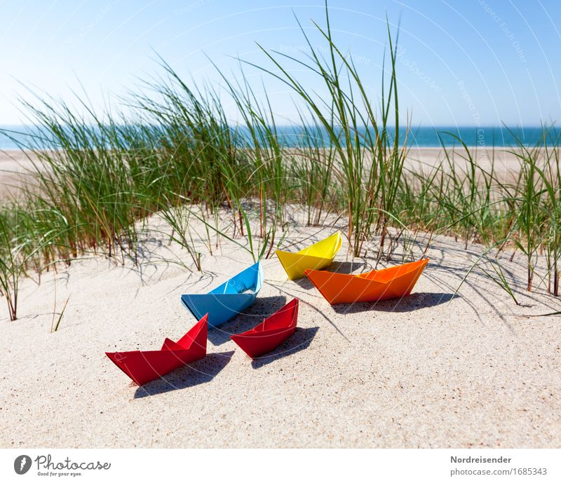 summertime Playing Handicraft Vacation & Travel Summer vacation Beach Ocean Sand Water Cloudless sky Sun Beautiful weather Grass North Sea Baltic Sea Navigation
