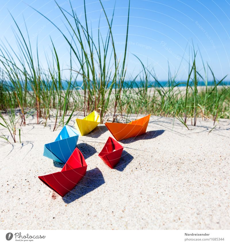 Vacation & Travel Summer Water Sun Ocean Beach Grass Playing Sand Joie de vivre (Vitality) Beautiful weather Paper Baltic Sea Symbols and metaphors Toys Cloudless sky