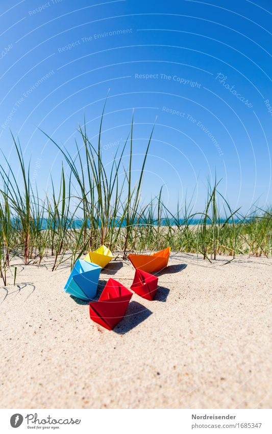Vacation & Travel Summer Water Sun Ocean Beach Grass Playing Freedom Sand Joie de vivre (Vitality) Beautiful weather Paper Baltic Sea Wanderlust Toys