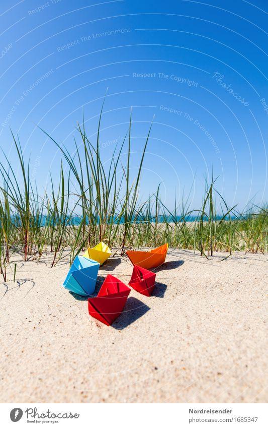 Vacation & Travel Summer Water Sun Ocean Beach Grass Playing Freedom Sand Joie de vivre (Vitality) Beautiful weather Paper Baltic Sea Wanderlust Toys