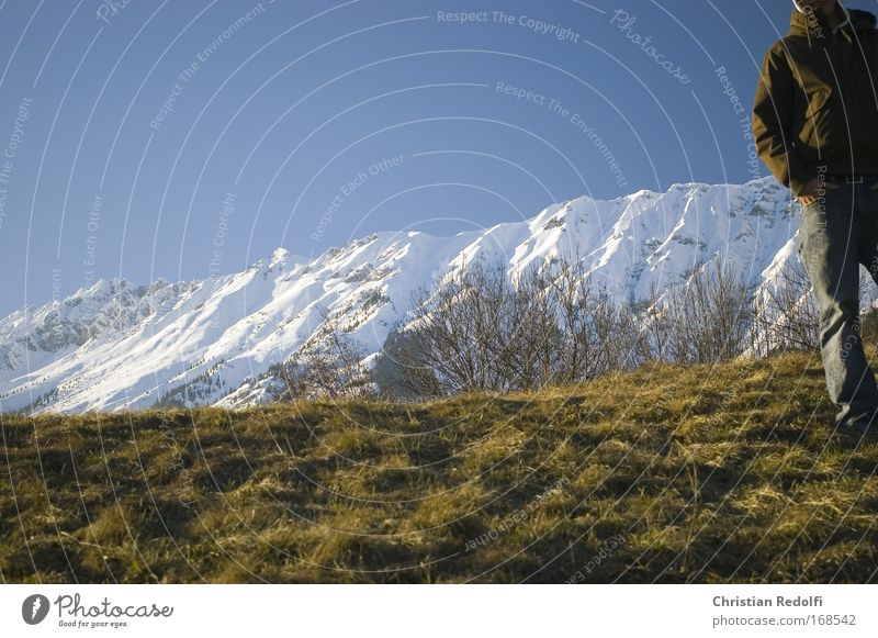 Human being Man Nature Sun Winter Life Meadow Cold Snow Mountain Spring Together Field Clothing Alps Vantage point