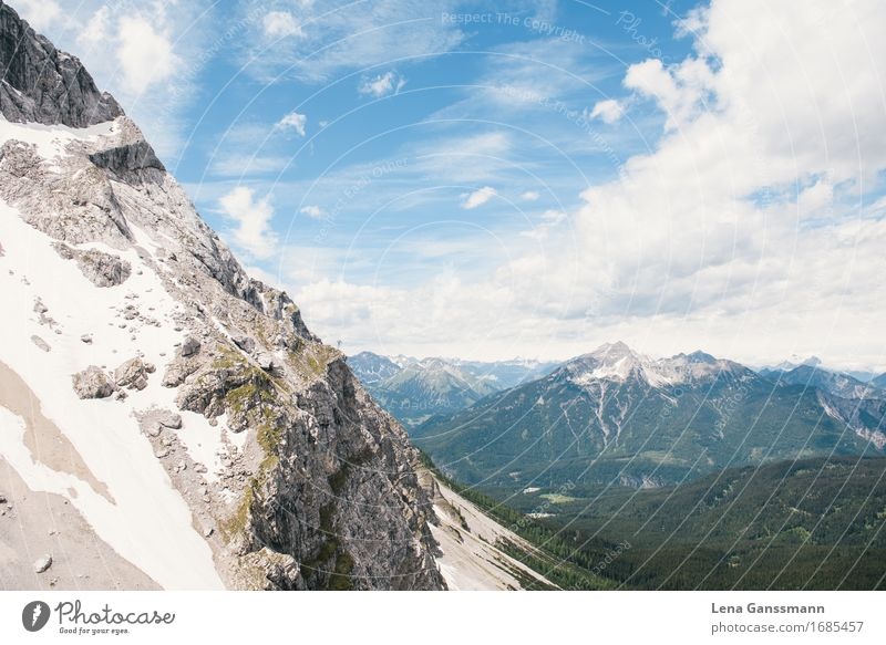 View from the Eibseebahn Hiking Environment Nature Landscape Sky Horizon Rock Alps Mountain Peak Zugspitze Suspension railway Sharp-edged Firm Gigantic Large