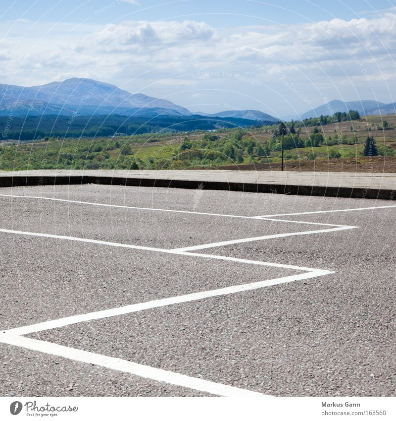 parking space Colour photo Exterior shot Deserted Copy Space top Copy Space bottom Copy Space middle Day Deep depth of field Central perspective Nature