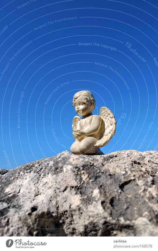 When angels travel Wide angle Art Sculpture Sky Kitsch Odds and ends Kneel Smiling Sit Dream Wait Esthetic Blue Gold Trust Sympathy Peaceful Goodness Patient