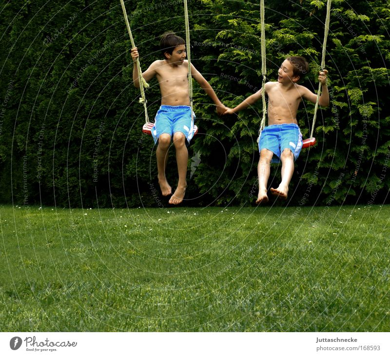 Brotherly.... Brothers and sisters Together Harmonious Joy Child Infancy Boy (child) lads Summer Garden Swing To swing Playground Playing Friendship