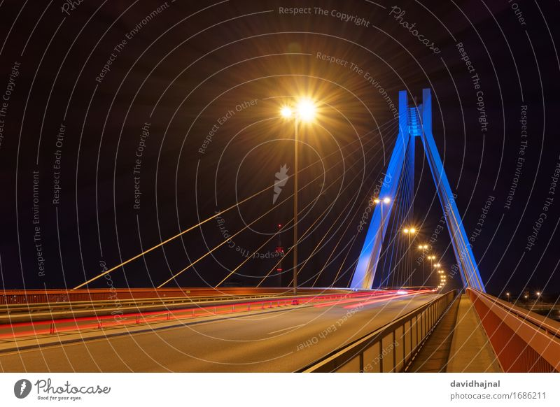 City Blue Red Street Yellow Architecture Lighting Building Germany Brown Transport Esthetic Technology Europe Concrete Bridge