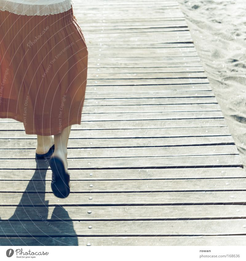 Human being Vacation & Travel Summer Beach Joy Feminine Happy Lanes & trails Warmth Going Walking Happiness Skirt Joie de vivre (Vitality) Woman Young woman