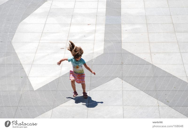 shadow hunting Colour photo Subdued colour Multicoloured Exterior shot Copy Space right Day Light Shadow Sunlight Full-length Downward Playing Child Human being