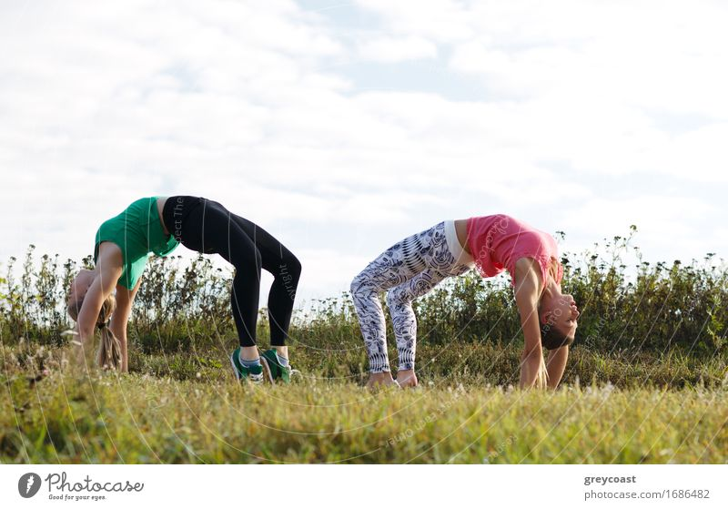Two girls training Human being Woman Nature Youth (Young adults) Summer Young woman Landscape Girl 18 - 30 years Adults Grass Garden Together Action Fitness
