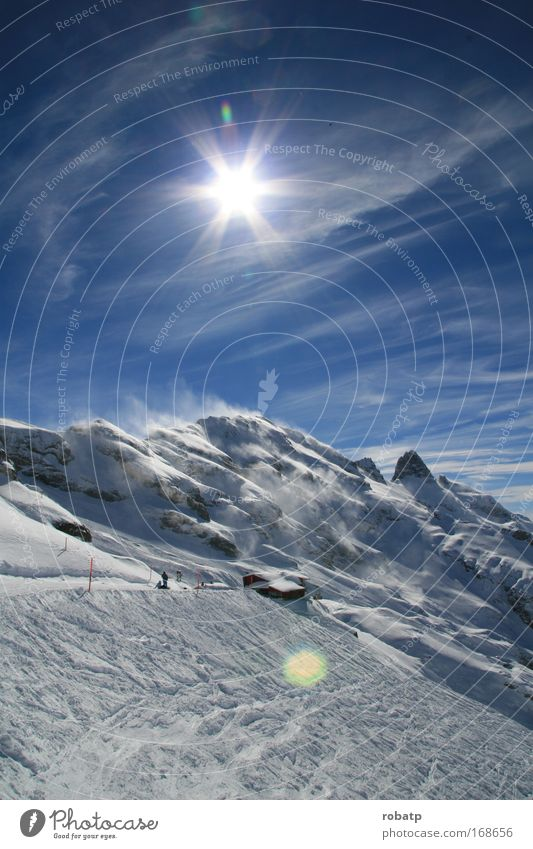 Sky Blue White Sun Winter Joy Loneliness Far-off places Cold Snow Landscape Mountain Wind Large Skiing Alps