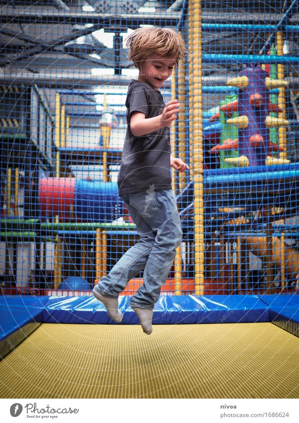 jump Sports Fitness Sports Training Trampoline Human being Masculine Child Boy (child) Infancy 1 3 - 8 years Playground climbing scaffold T-shirt Jeans