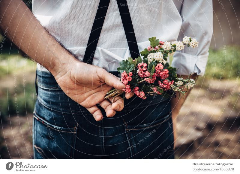 Flowers for love. Style Valentine's Day Wedding Shirt Jeans Suspenders Fragrance Friendliness Together Happy Uniqueness Retro Contentment