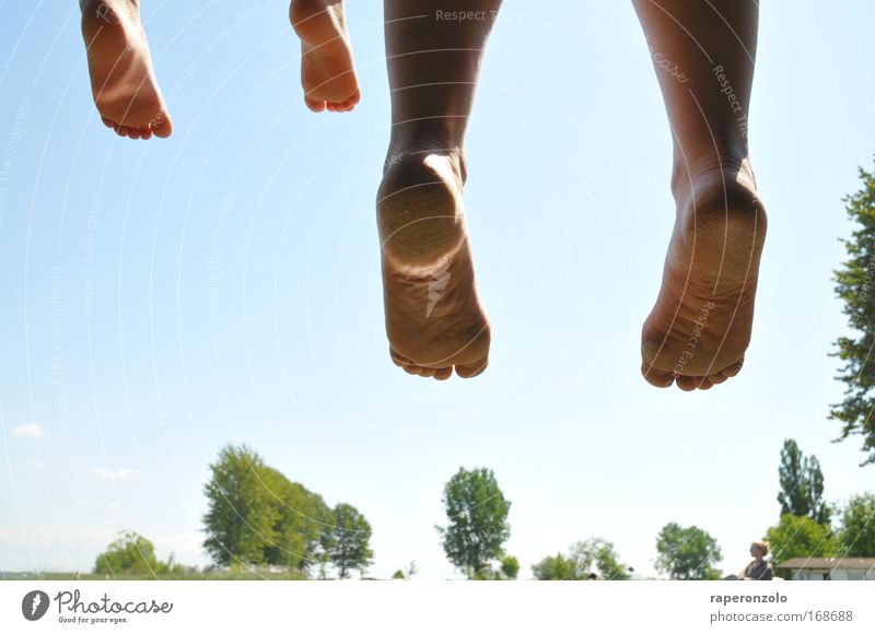 Human being Sky Summer Joy Adults Relaxation Life Happy Jump Feet Family & Relations Together Infancy Sit Beginning In pairs