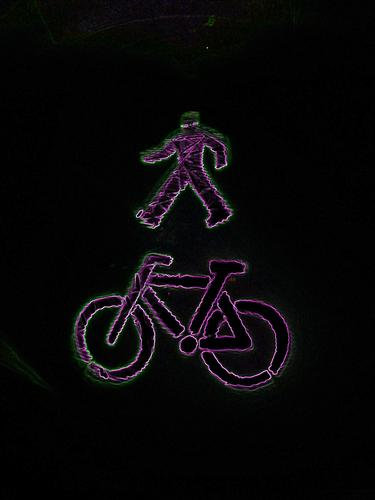 Man with a wheel Night Club Bicycle picture week Lighting