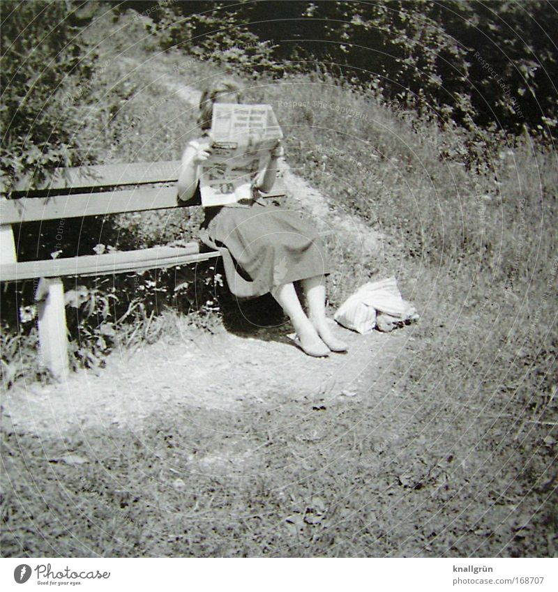 Human being Nature Relaxation Contentment Sit Trip Reading Bench Education To hold on Skirt Joie de vivre (Vitality) Sixties Smart Light heartedness