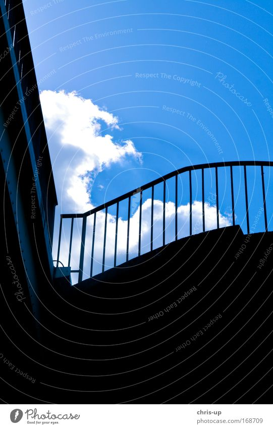 Sky City Blue Beautiful Clouds House (Residential Structure) Black Wall (building) Architecture Building Wall (barrier) Facade Air Stairs Modern High-rise